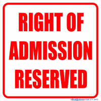 Right of Admission