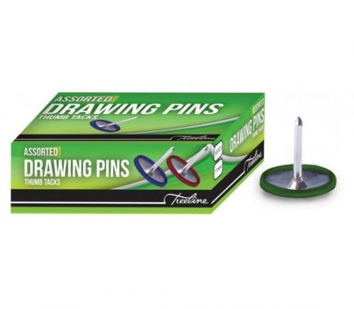 Treeline Drawing Pins 11mm Colour 50's